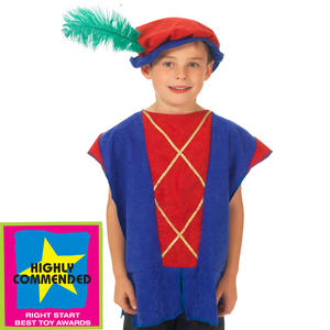 Childrens Blue & Red Tudor Tabard Fancy Dress Costume Ages 3-9 Years