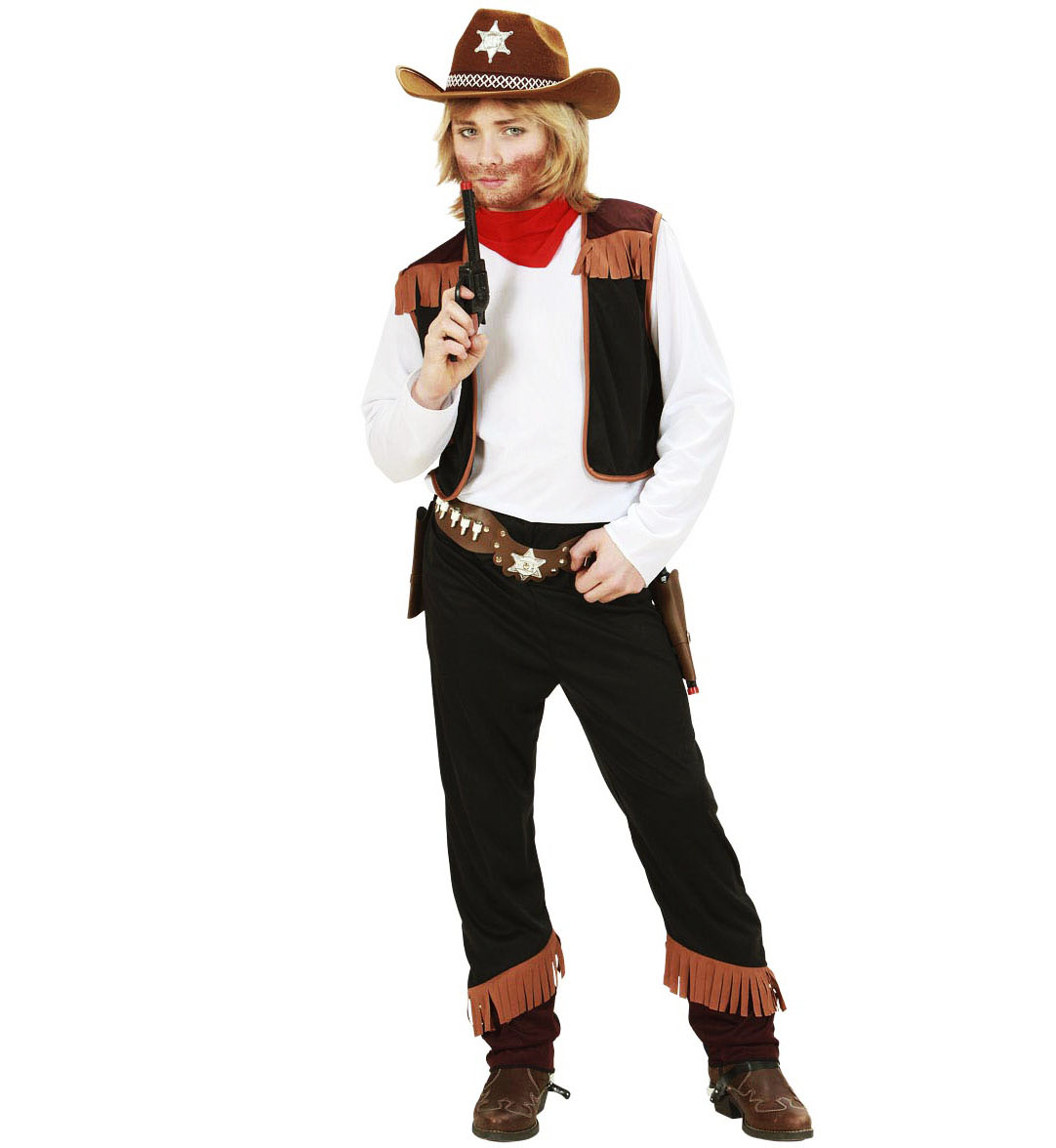 Childrens Cowboy Fancy Dress Wild West Party Costume Outfit Set 128Cm 5-7 Yrs