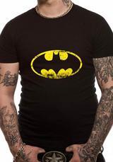 Batman Distressed Logo Symbol Mens T-Shirt Licensed Top Black L