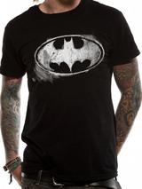 Batman Logo Symbol Mono Distressed Mens T-Shirt Licensed Top Black S