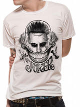 Suicide Squad Joker Face T-Shirt Licensed Top White M
