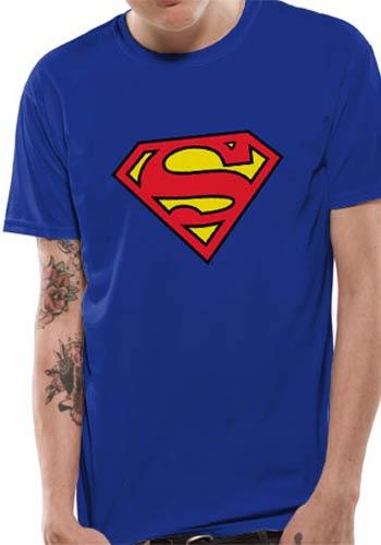 Superman Logo Symbol T Shirt Licensed Top Blue M 5054015035033 Ebay