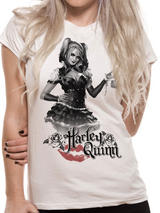 Batman Arkham Knight Harley Quinn T-Shirt Womens Ladies Top White XL UK 14-16