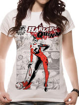 Harley Quinn Comic T-Shirt - Womens Ladies Top White M UK 10-12