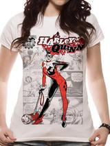 Harley Quinn Comic T-Shirt - Womens Ladies Top White S UK 8-10