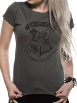 Harry Potter Distressed Hogwarts T-Shirt Womens Ladies Grey S UK 8-10
