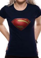 Superman Man Of Steel Textured Logo Symbol T-Shirt Womens Ladies Blue L