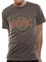 Ac/Dc Australia Est 1973 Mens T-Shirt Licensed Top Brown L