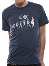 Ac/Dc Evolution Of Rock Mens T-Shirt Licensed Top Blue 2XL