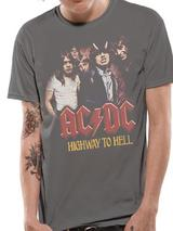 Ac/Dc H2H Band Photo Mens T-Shirt Licensed Top Grey 2XL