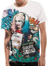 Suicide Squad Grafitti  Harley Quinn Premium T-Shirt Licensed Top White L