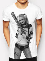 Suicide Squad Harley Quinn Photo Premium T-Shirt Licensed Top White XL