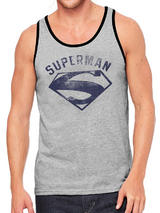 Superman Washed Logo Symbol Vest Unisex Premium Licensed Top Grey M