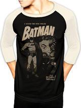 Batman Two-Face Retro Baseball Shirt Long Sleeve T-Shirt Licensed Top Black S