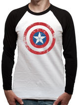 Captain America Shield (Baseball Shirt) Long Sleeve T-Shirt Licensed Top White S
