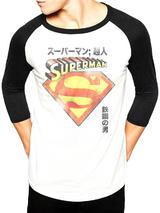 Superman Japanese (Baseball Shirt) Long Sleeve T-Shirt Licensed Top White S