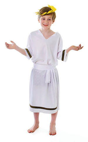 Childrens Ancient Greek God Caesar Fancy Dress Costume Boys Toga Outfit 7-10 Yrs