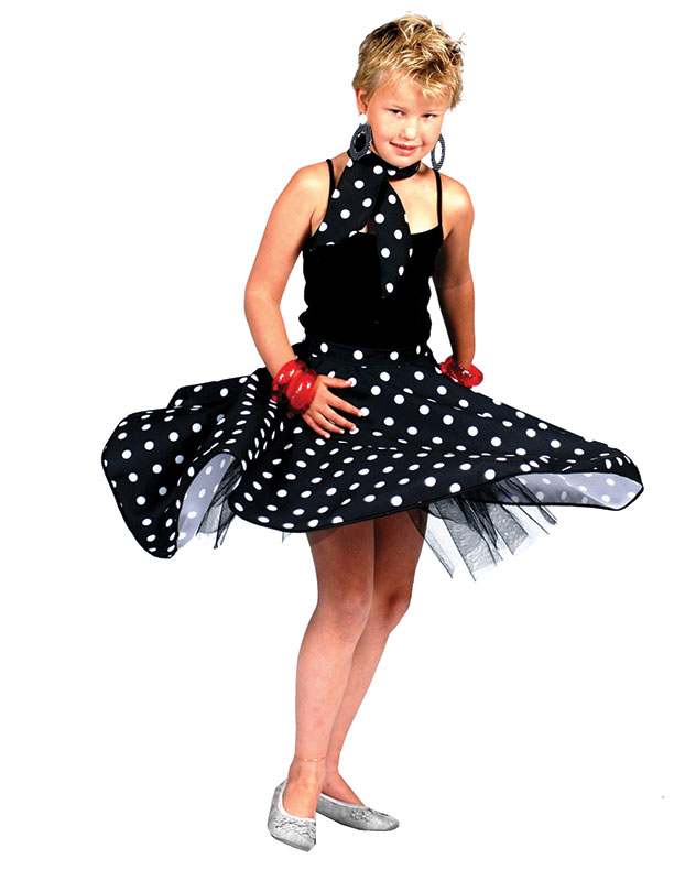Childrens Black Rock 'N' Roll Skirt Fancy Dress Grease Girls 50s Costume Kids