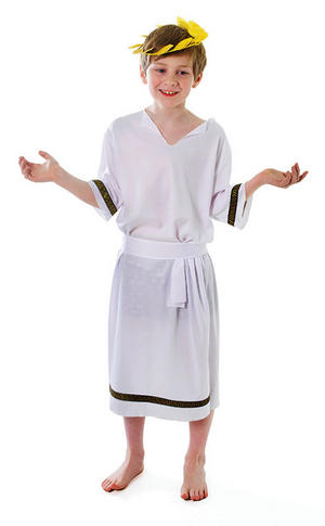 Childrens Ancient Greek Caesar Fancy Dress Costume Boys Toga Outfit 11-13 Yrs