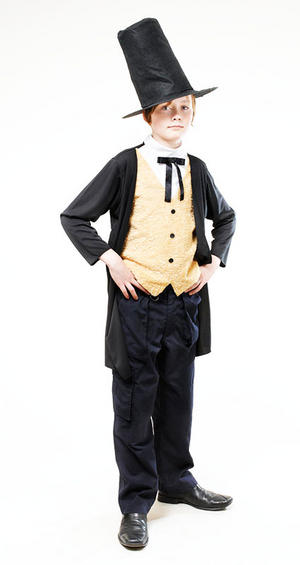 Victorian Gent Fancy Dress Costume Abraham Lincoln Boys Kids Outfit 7-8 Yrs