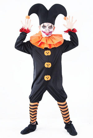 Childrens Evil Jester Fancy Dress Costume Halloween Clown Kids Outfit 11-13 Yrs