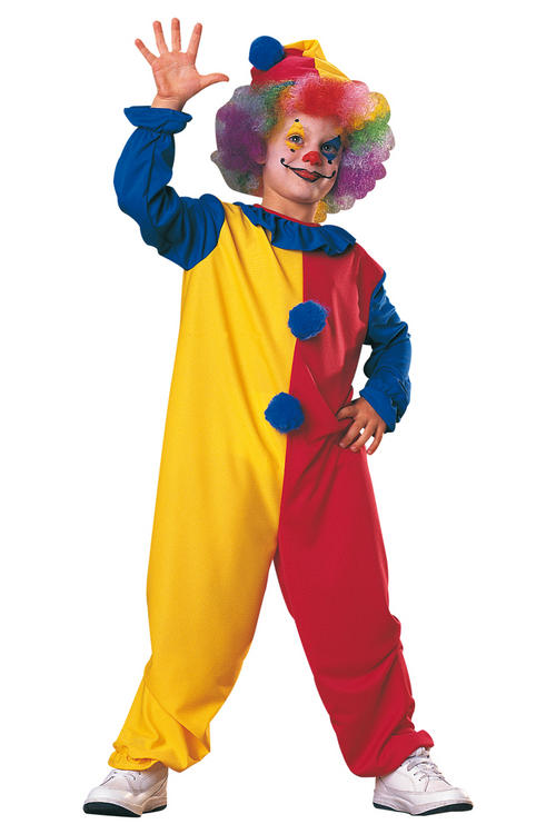 Childrens Clown Fancy Dress Costume Circus Jester Halloween Outfit 8-10 Yrs