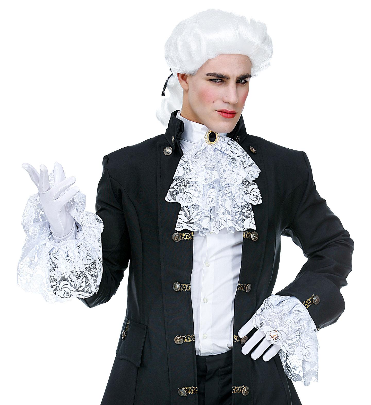 LACE JABOT w// GEM /& CUFFS Fancy Dress Kit Set Fancy Dress