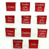 Mens Red Script Square Wedding Shirt Cufflinks Sets Kits Wedding Role & Pouch