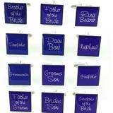 Mens Purple Script Square Wedding Shirt Cufflinks Sets Kits Wedding Role & Pouch