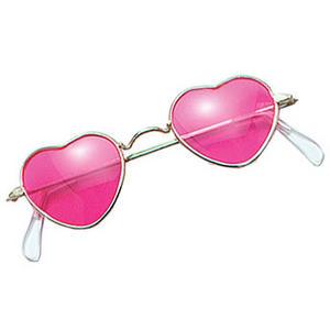 Pink Heart John Lennon Style Sunglasses Hippy 70's 80's Fancy Dress Glasses