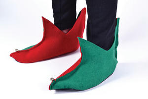 Green & Red Elf Shoes Santas Helper Pixie Peter Pan Fancy Dress