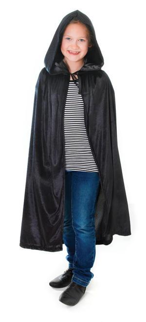 Childrens Black Velvet Hooded Cape Dracula Halloween Fancy Dress Kids 88cm