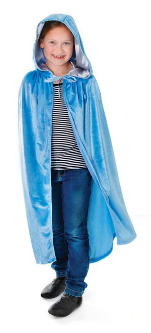 Childrens Blue Velvet Hooded Cape Halloween Fancy Dress Kids Child  88cm