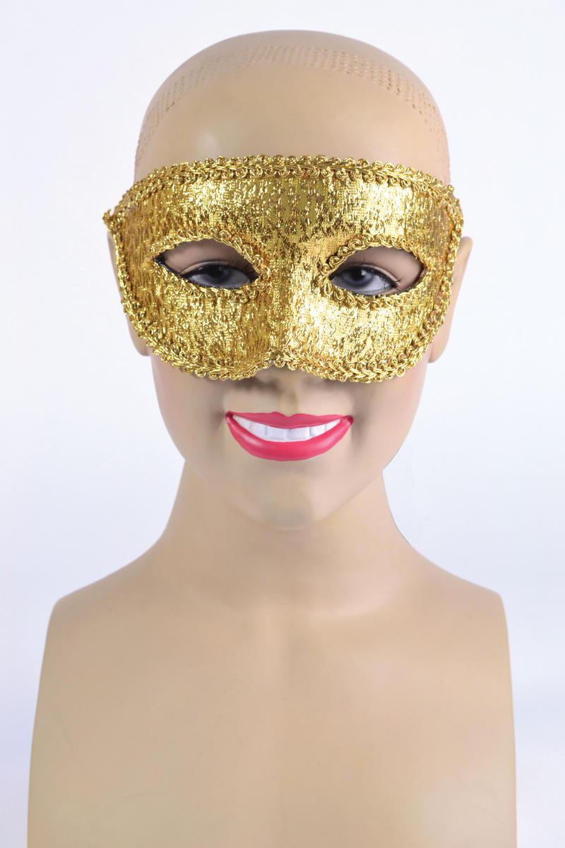 Gold Eye Mask & Ribbon Tie Halloween Masquerade Ball Fancy Dress