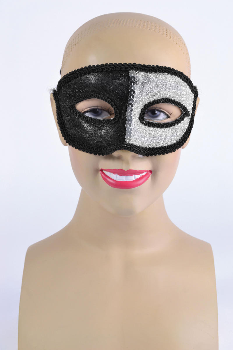 Black & Silver Eye Mask & Ribbon Tie Halloween Masquerade Ball Fancy Dress