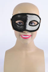 Black & Silver Eye Mask & Ribbon Tie Halloween Masquerade Ball Fancy Dress