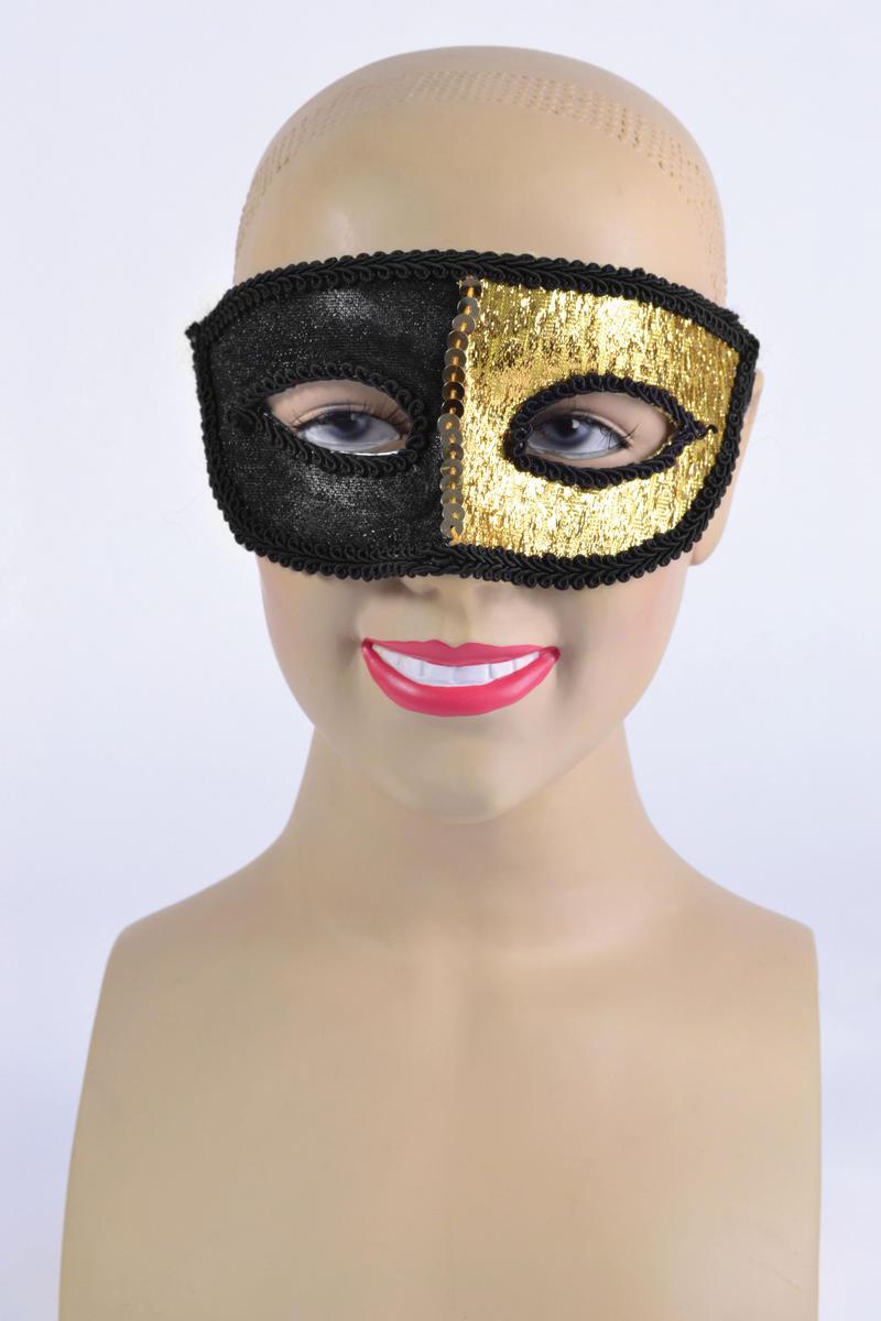 Black & Gold Eye Mask & Ribbon Tie Halloween Masquerade Ball Fancy Dress