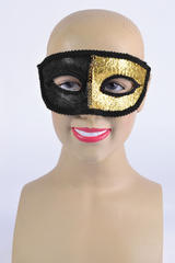 Black & Gold Eye Mask & Ribbon Tie Halloween Masquerade Ball Fancy Dress