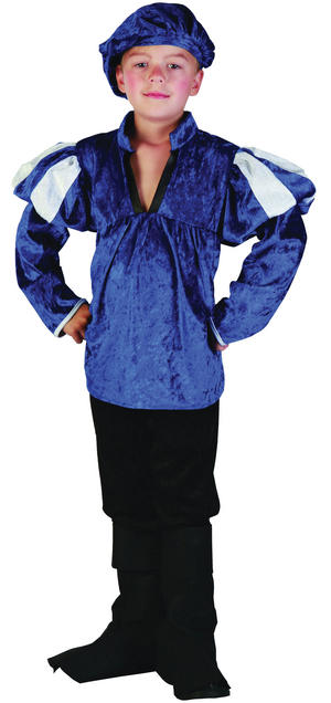 Childrens Blue Medieval Prince Fancy Dress Costume Boys Kids Outfit 7-10 Yrs
