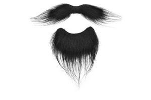 Black Beard Goatee & Moustache Facial Hair Set Victorian Gentleman Fancy Dress
