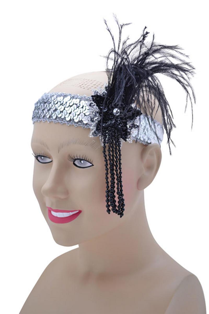Silver Sequin Feather Headband Flapper Charleston 1920's Fancy Dress