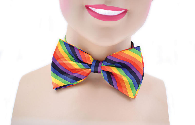 Rainbow Clown Bow Tie Gay Pride 70's Austin Powers Circus Fancy Dress Accessory
