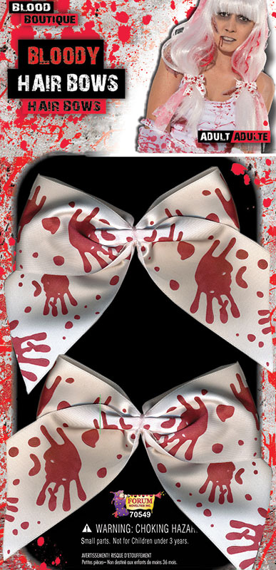 White Zombie Hair Ties Bunches Bows With Blood Stains Halloween Fancy Dress