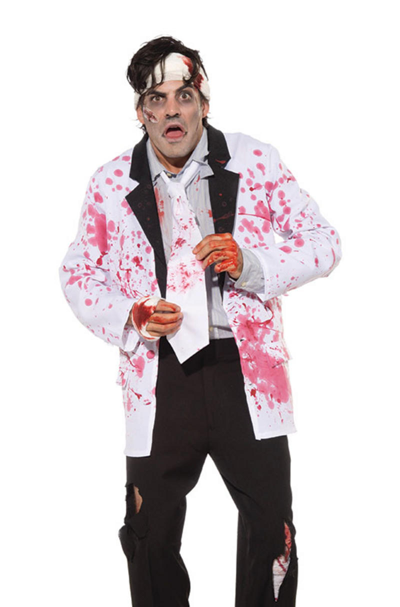 White Tie With Blood Staines Mad Scientist Zombie Doctor Halloween Fancy Dress