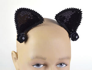 Black Cat Ears on Hair Clip Halloween Witchs Cat Fancy Dress Accessory