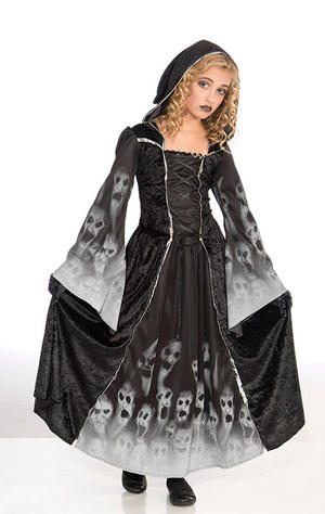 Childrens Black Widow Fancy Dress Costume 11-13 Yrs Witch Halloween Kids Outfit