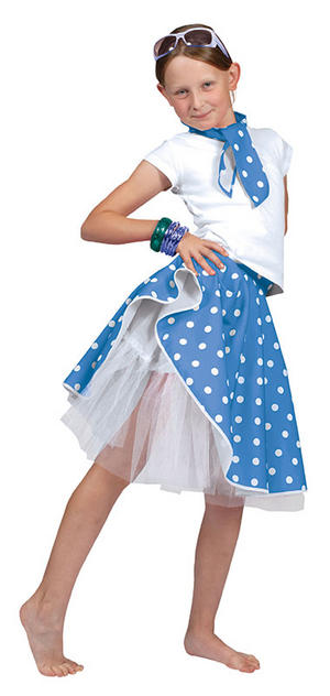 Childrens Blue Rock 'n' Roll Skirt Fancy Dress One Size 1950s Grease Outfit