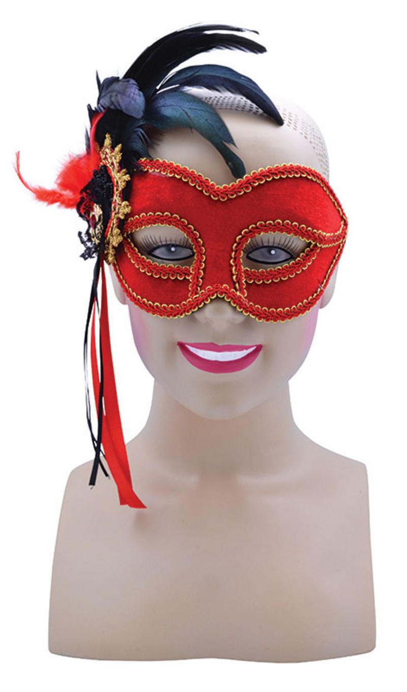 Red Mask with Side Black Feather on Headband Masquerade Halloween Fancy Dress