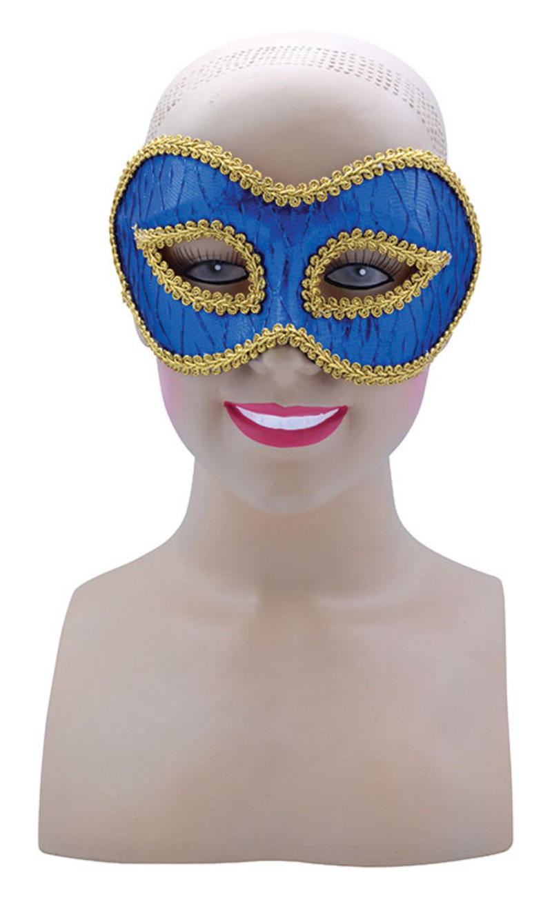 Blue Patterened Mask On Glasses Masquerade Ball Super Hero Halloween Fancy Dress