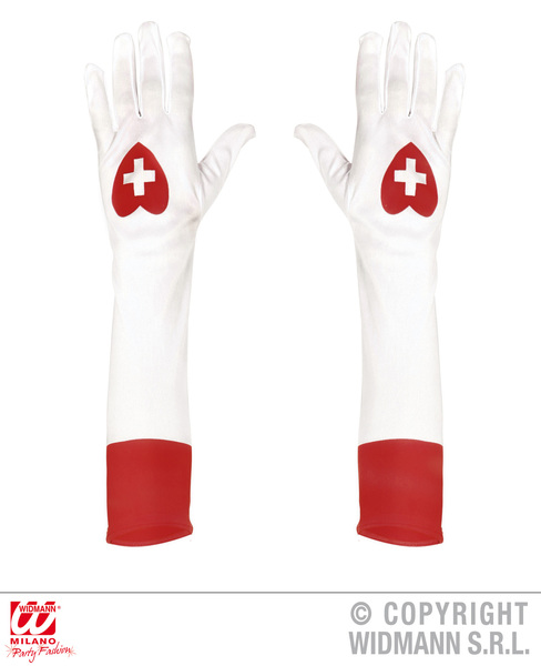 Womens Nurse Gloves Doctors And Nurses Fancy Dress Costume Accessory Adult